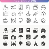 Traveling and transport line icon set