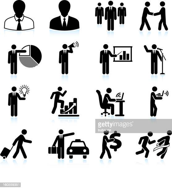 traveling businessman black and white royalty free vector icon set - battle of the sexes concept stock illustrations