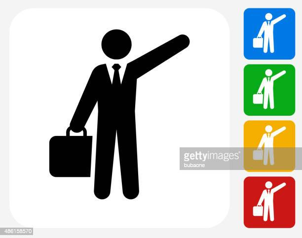 traveling businessman icon flat graphic design - taxi stock illustrations, clip art, cartoons, & icons