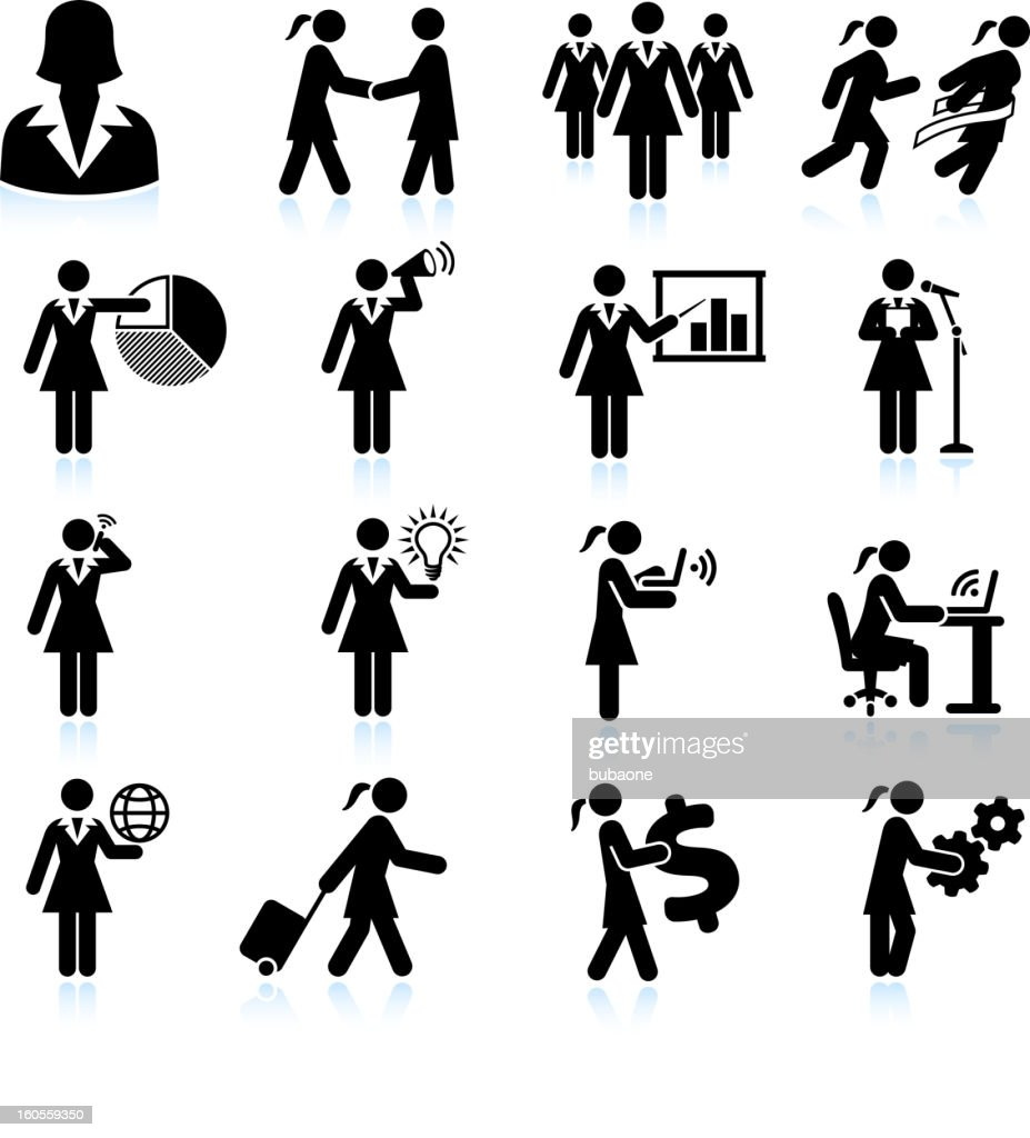 Traveling Businesswoman black and white royalty free vector icon set : stock illustration
