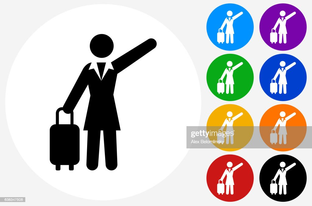 Traveling Businesswoman Icon on Flat Color Circle Buttons : Ilustración de stock