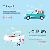 Traveling by car cabriolet, Traveling by plane, flying adventure, vacation.