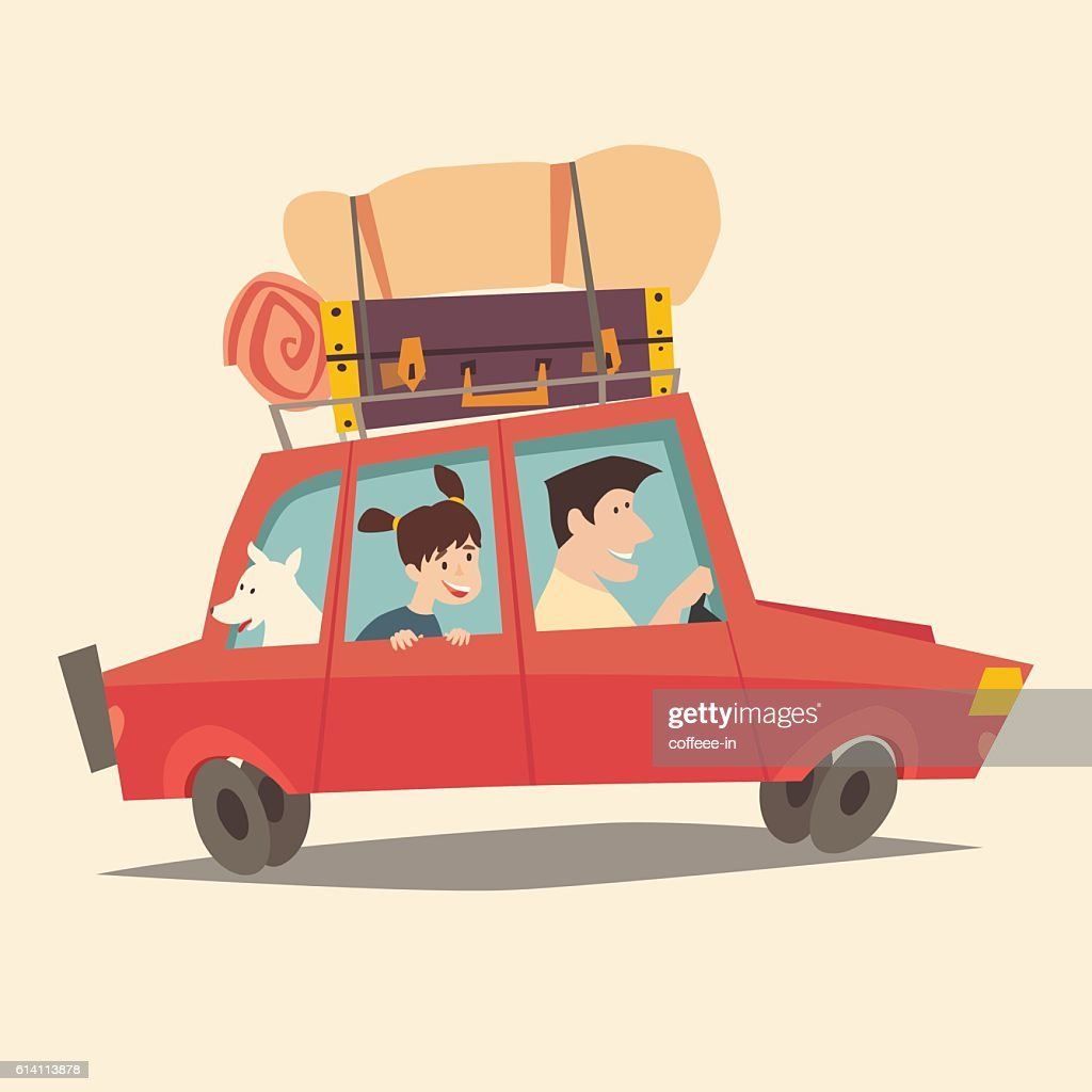 Traveling by car. Father driving car. Happy family summer vacations