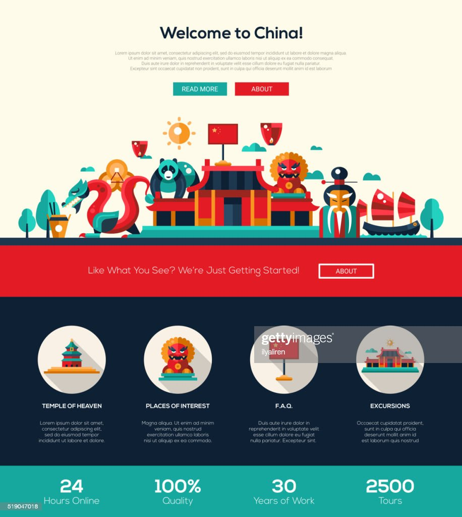 Traveling China website header banner with webdesign elements
