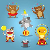 Traveling circus cartoon icons collection wild animals performance isolated vector illustration.