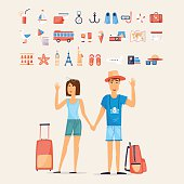 Traveling couple and set of icons.