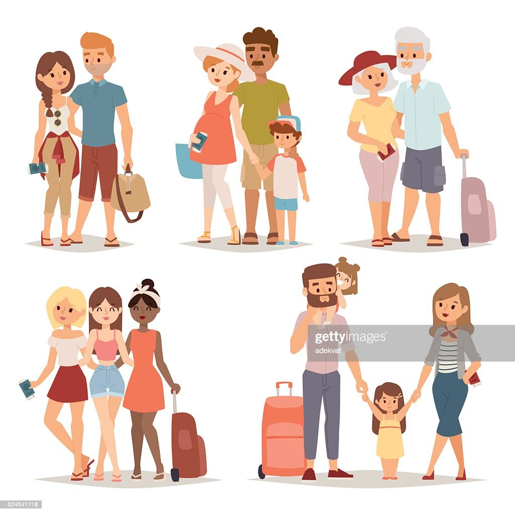 Traveling family group people on vacation together character flat vector