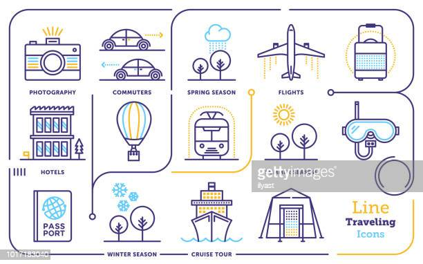 traveling line icon set - recreational pursuit stock illustrations, clip art, cartoons, & icons