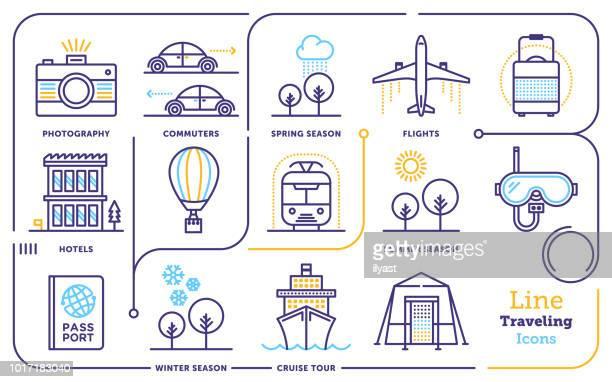 traveling line icon set - tourism stock illustrations