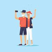 Traveling old people. Selfie. Character design. World Travel. Planning summer vacations. Flat design vector illustration.