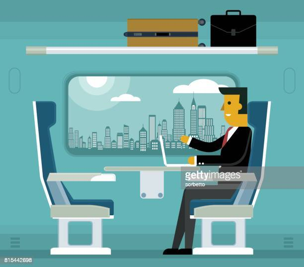 Traveling on a train - Businessman
