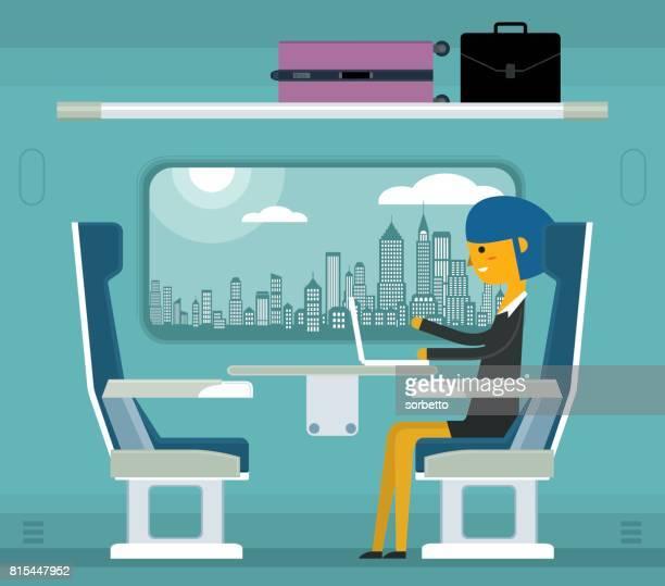 Reizen op een trein - zakenvrouw
