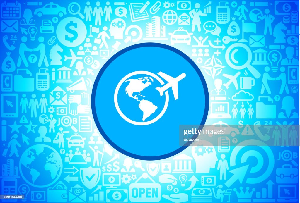 Traveling the World  Icon on Business and Finance Vector Background