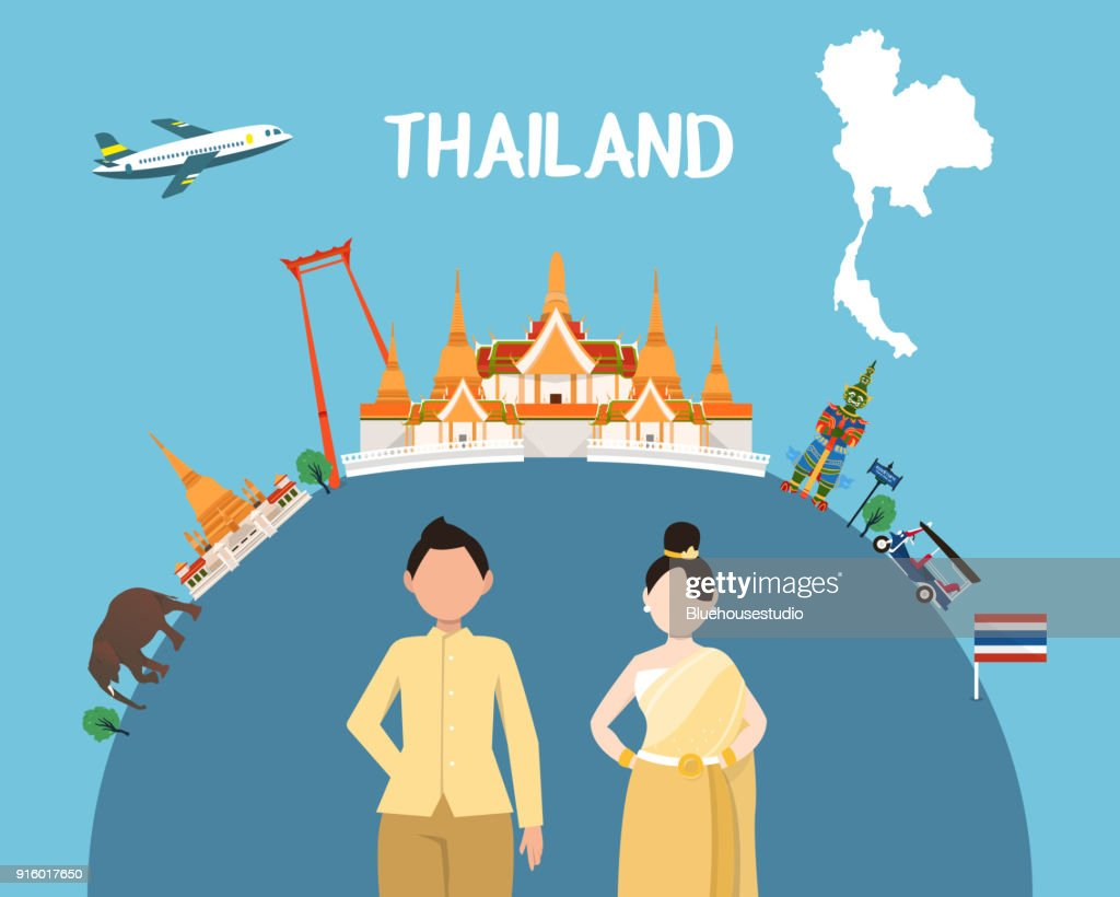 Traveling to Thailand by landmarks map illustration