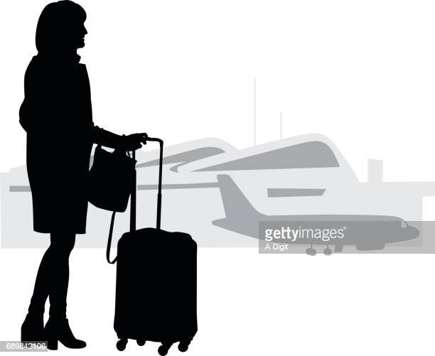 travelling alone - airport terminal stock illustrations, clip art, cartoons, & icons