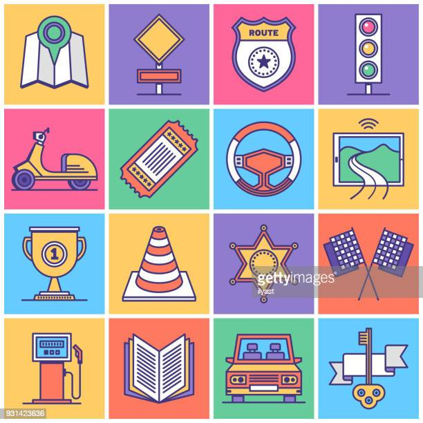 Travelling and Driving Icon Set