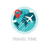 Travelling around world by plane vector, travel and trip logo