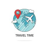 Travelling by plane concept, travel and world trip logo, journey