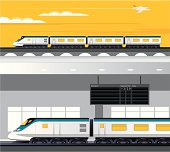 Travelling by train vector illustration