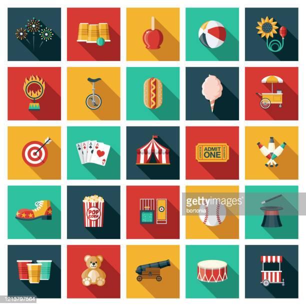 ilustrações de stock, clip art, desenhos animados e ícones de travelling circus icon set - caramelo de manteiga comida doce