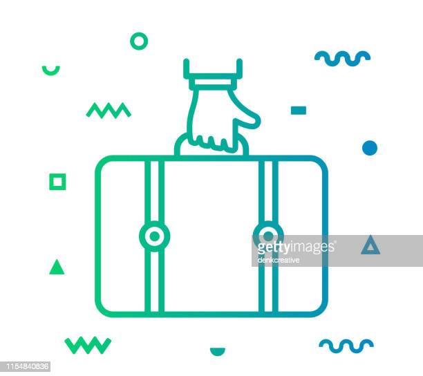 travelling line style icon design - briefcase stock illustrations