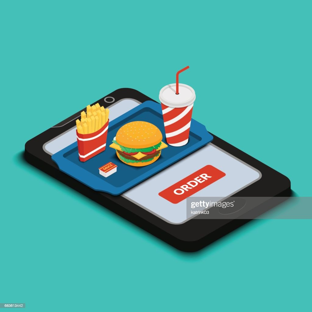Tray with burger, french fries and a drink on the smartphone scr