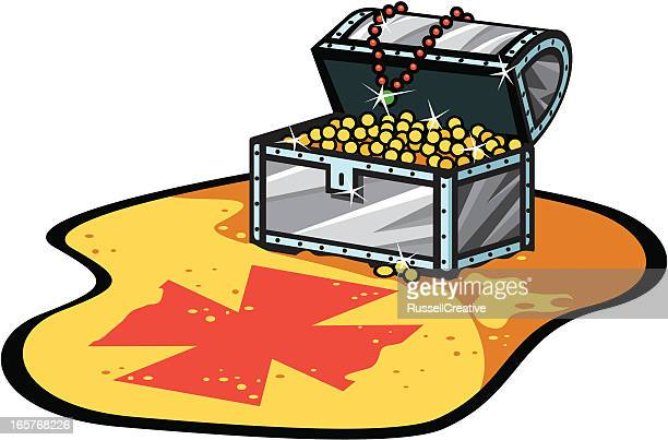 treasure chest and x marks the spot - x marks the spot stock illustrations