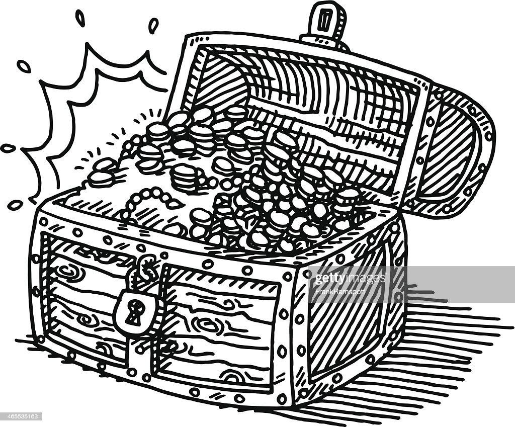 treasure chest coins drawing vector art getty images