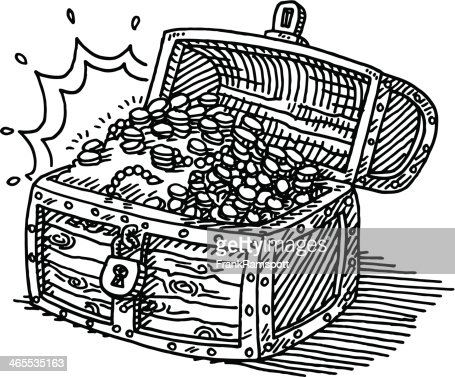 Treasure Chest Coins Drawing Vector Art | Getty Images