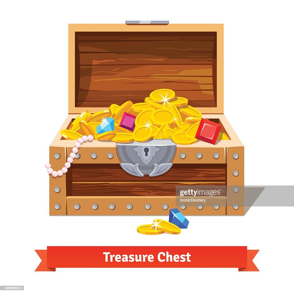 Treasure chest full of gold coins, crystal gems