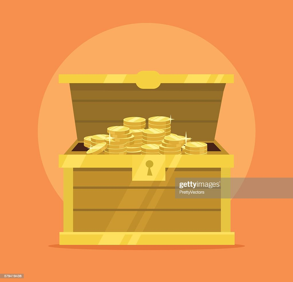 Treasure chest full of gold coins icon