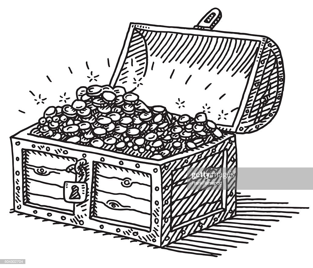 Line Art Box Designs : Treasure chest gold coins drawing vector art getty images