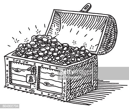 Treasure chest gold coins drawing vector art getty images - Coffre dessin ...