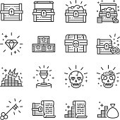 Treasure chest icon set