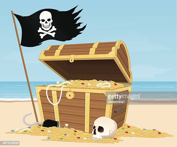 treasure chest on the beach - buried stock illustrations, clip art, cartoons, & icons
