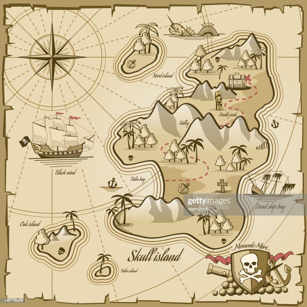 Treasure island vector map in hand drawn style