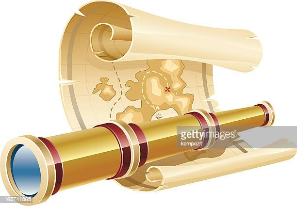 ilustraciones, imágenes clip art, dibujos animados e iconos de stock de mapa del tesoro y telescopio - mapa del tesoro