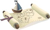 Treasure map and toy boat