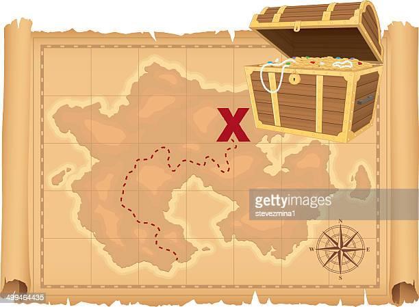 ilustraciones, imágenes clip art, dibujos animados e iconos de stock de mapa del tesoro y tesoro - mapa del tesoro
