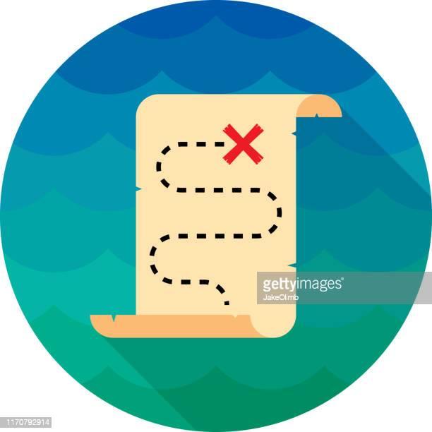 treasure map icon flat - x marks the spot stock illustrations