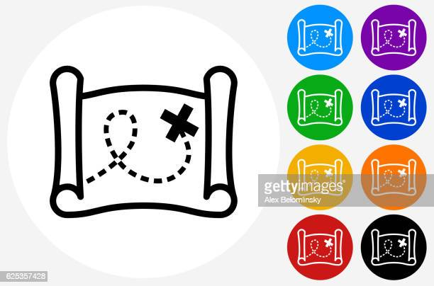 ilustraciones, imágenes clip art, dibujos animados e iconos de stock de treasure map icon on flat color circle buttons - mapa del tesoro
