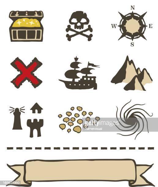 Treasure Map Icons and Elements