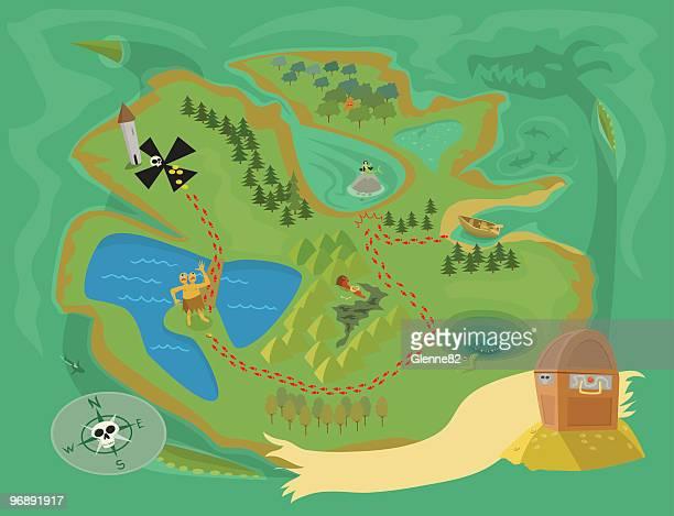 treasure map of sea serpent island - cyclops stock illustrations, clip art, cartoons, & icons
