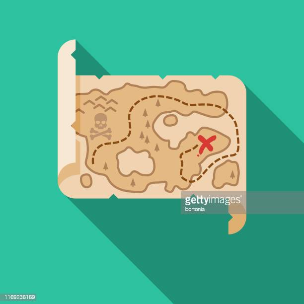 ilustraciones, imágenes clip art, dibujos animados e iconos de stock de mapa del tesoro icono pirata - mapa del tesoro