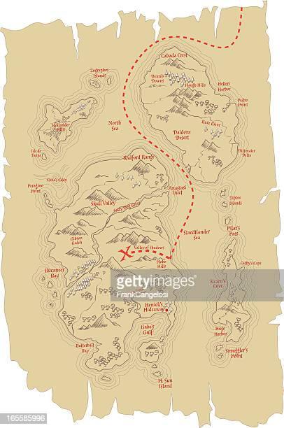ilustraciones, imágenes clip art, dibujos animados e iconos de stock de mapa del tesoro - mapa del tesoro