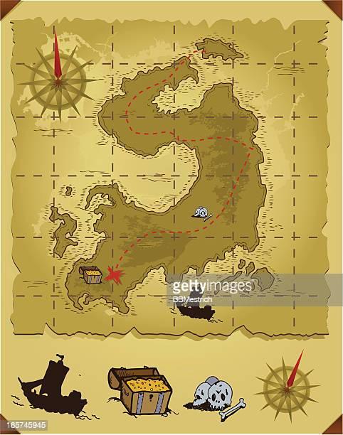 treasure map - kong: skull island stock illustrations
