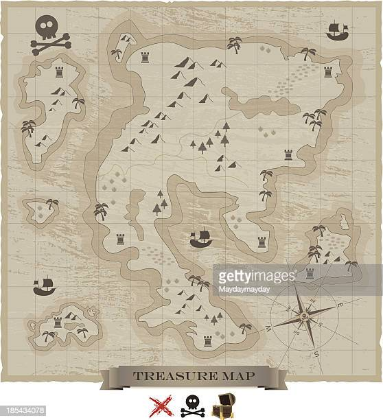 treasure map - pirate boat stock illustrations, clip art, cartoons, & icons