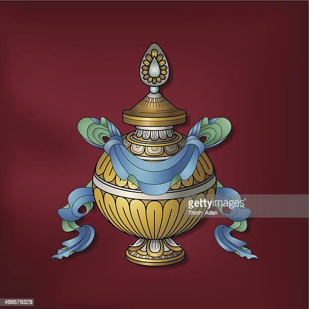 トレジャー花瓶/Kumbha –(縁起の良い仏教コード)