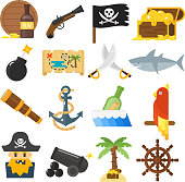 Treasures icons vector set.