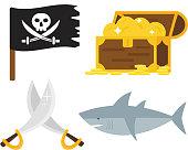 Treasures icons vector set.